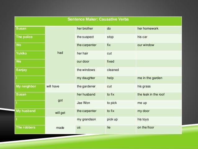 Sentence maker causative verbs