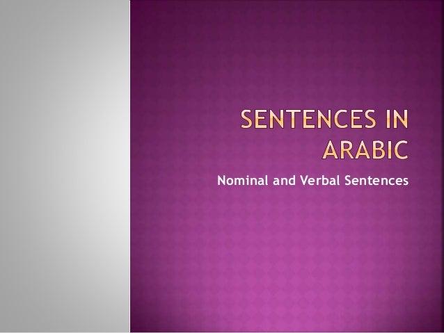Nominal and Verbal Sentences