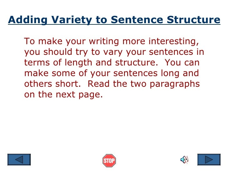 Sentence Structure Ppt – Sentence Variety Worksheets