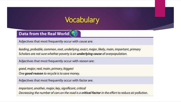 cause and effect essay vocabulary Here is a short guide to writing cause and effect essays and para graphs prepared especially for english language  vocabulary reading comprehension.