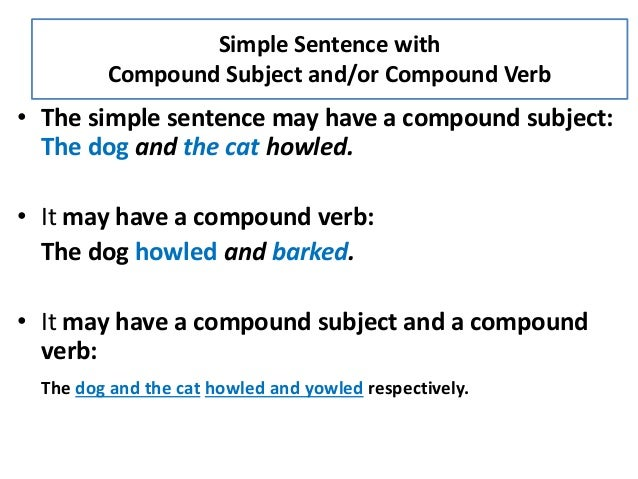 simple sentence with compound