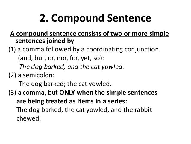 sentences types simple compound complex compound complex