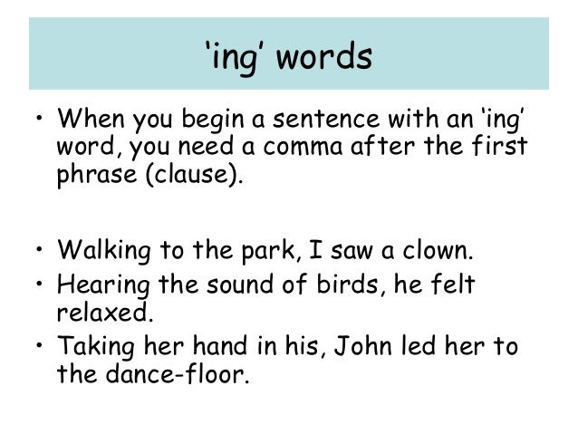 sentence types and punctuation revision