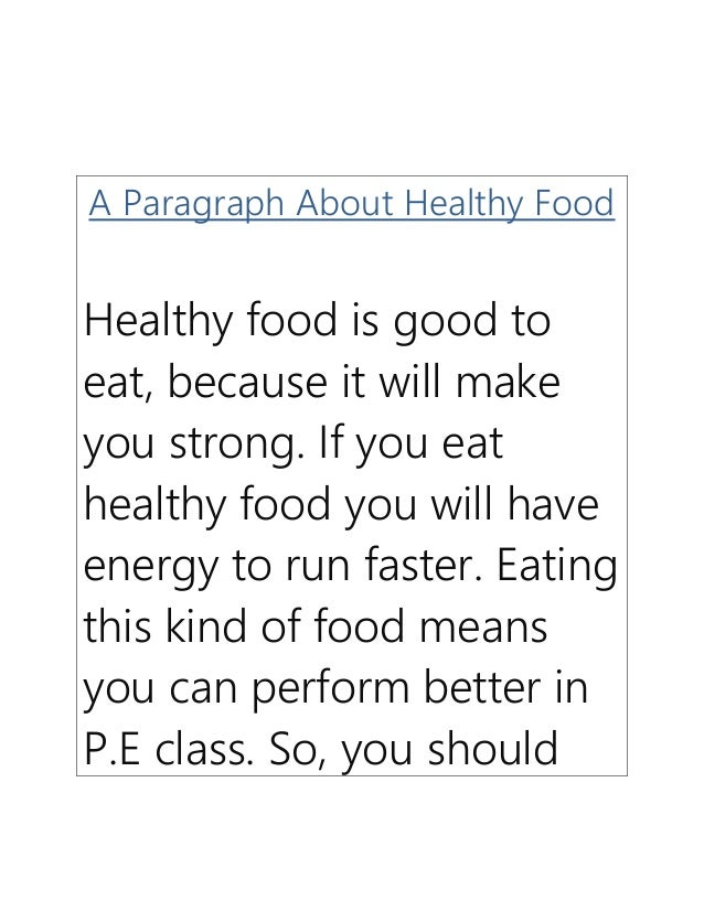 Paragraph On Healthy Food
