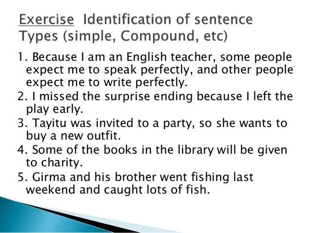 sentence types compound complex sentence examples exercise for all