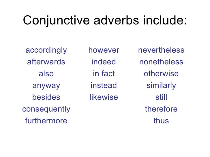 Conjunctive Adverbs List in English – Materials For ... |List Of Conjunctive Adverbs