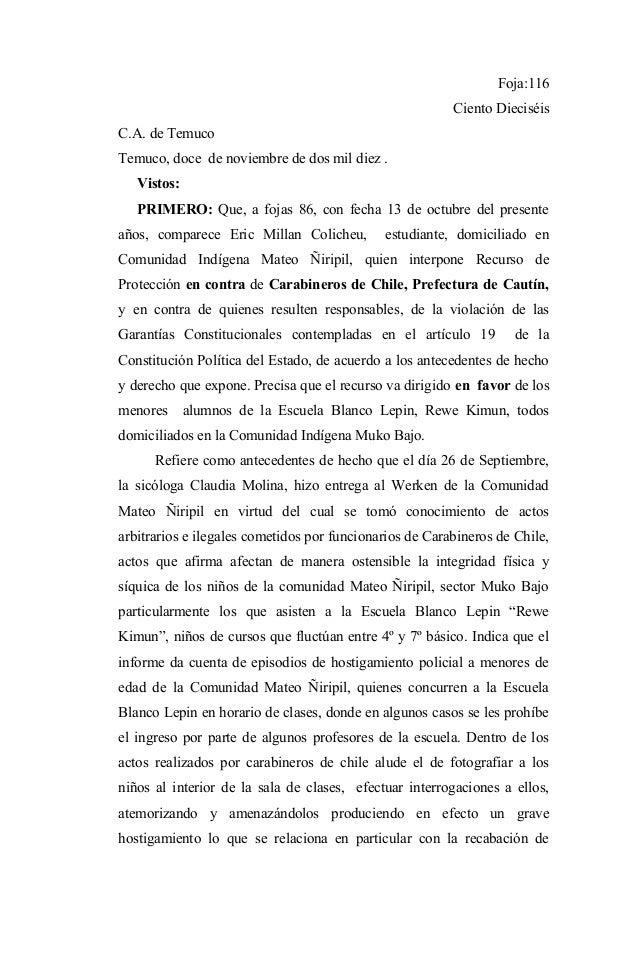Foja:116                                                         Ciento DieciséisC.A. de TemucoTemuco, doce de noviembre d...