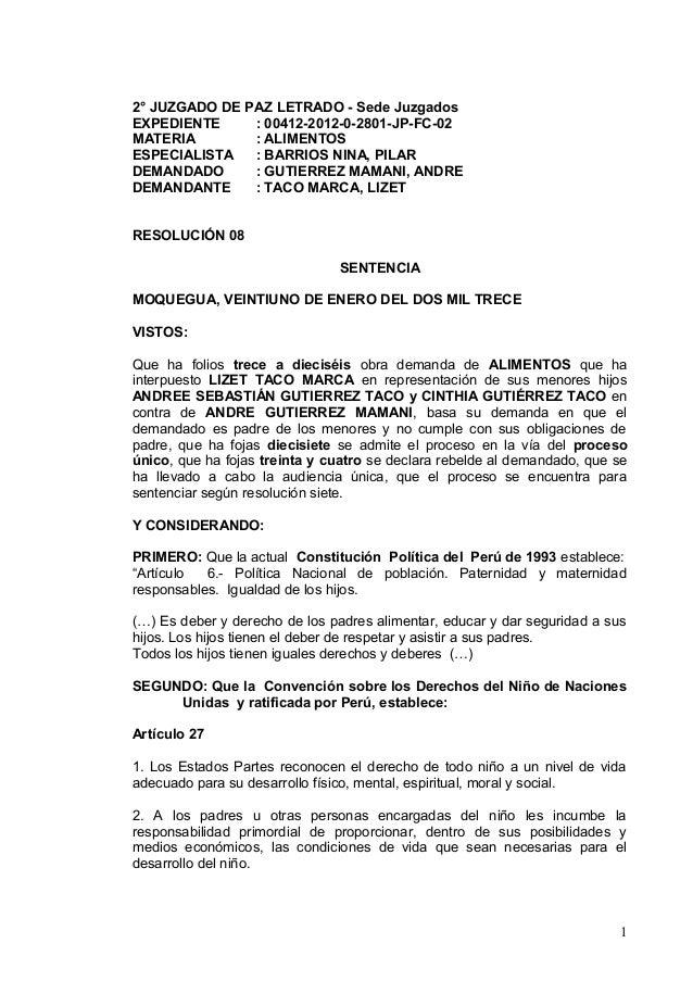 2° JUZGADO DE PAZ LETRADO - Sede Juzgados  EXPEDIENTE : 00412-2012-0-2801-JP-FC-02  MATERIA : ALIMENTOS  ESPECIALISTA : BA...