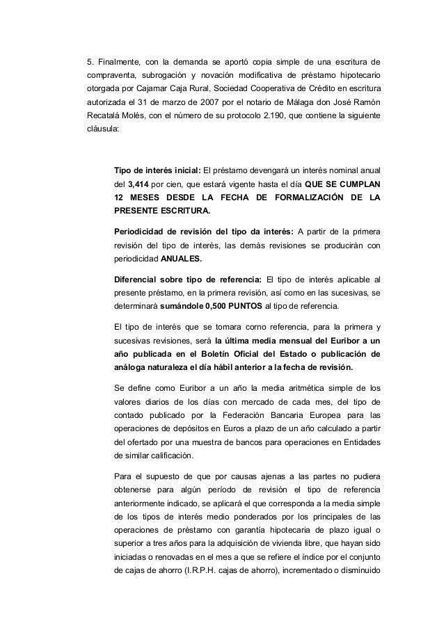 Sentencia cl usulas suelo for Clausula suelo cajamar