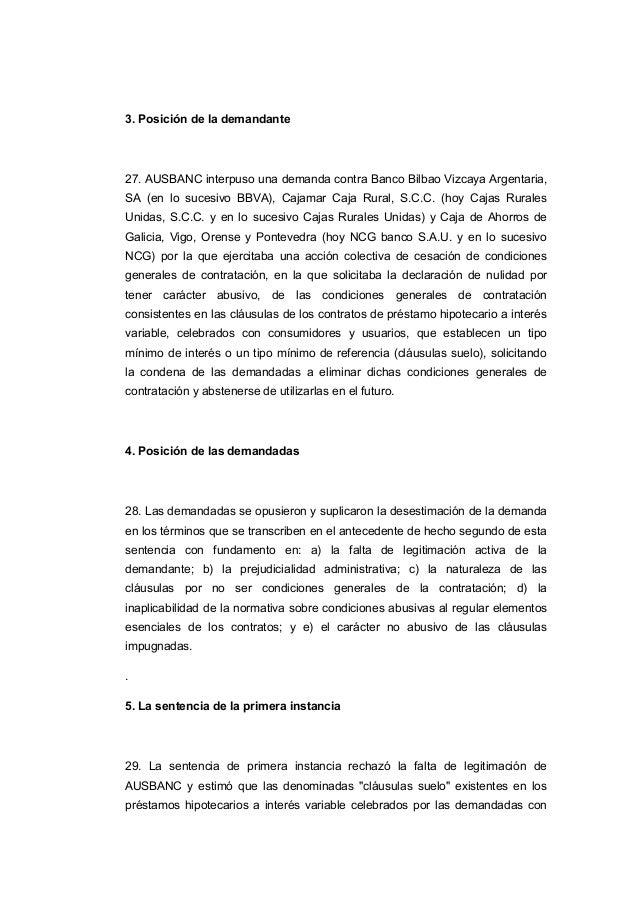 Sentencia cl usulas suelo for Clausula suelo y acuerdo con el banco