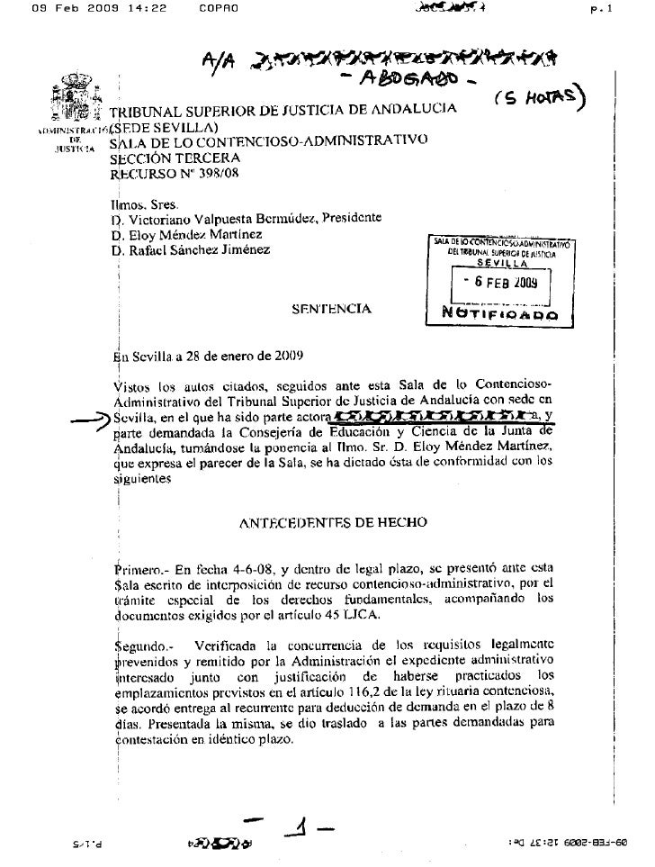 Sentencia completa del TSJA tras la sentencia del Supremo Feb 2099