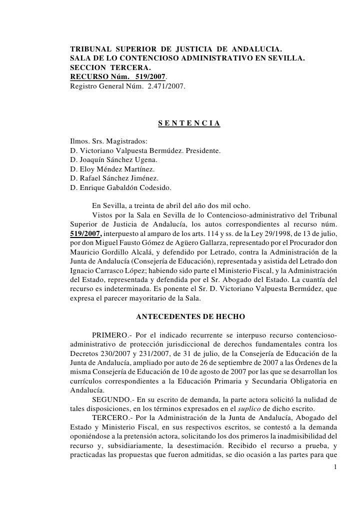 TRIBUNAL SUPERIOR DE JUSTICIA DE ANDALUCIA. SALA DE LO CONTENCIOSO ADMINISTRATIVO EN SEVILLA. SECCION TERCERA. RECURSO Núm...