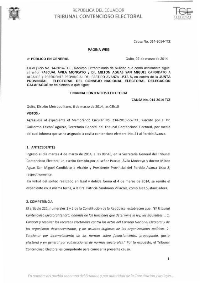 REPÚBLICA DEL ECUADOR TRIBUNAL CONTENCIOSO ELECTORAL Causa No. 014-2014-TCE PÁGINA WEB A: PÚBLICO EN GENERAL Quito, 07-de ...