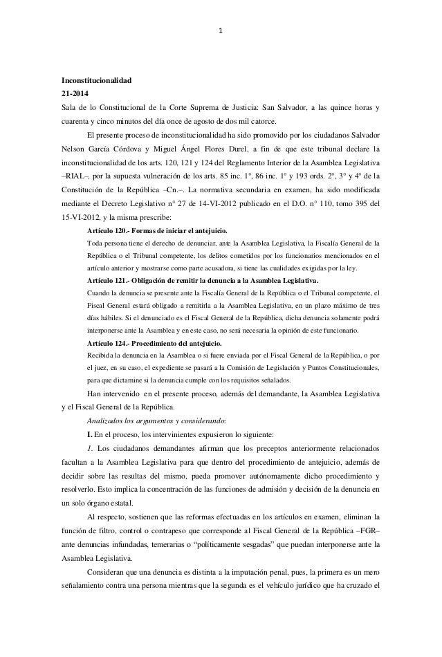 1 Inconstitucionalidad 21-2014 Sala de lo Constitucional de la Corte Suprema de Justicia: San Salvador, a las quince horas...