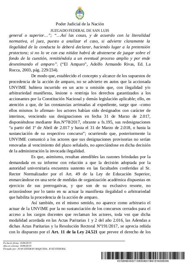 """#31589924#237130590#20190618192605596 Poder Judicial de la Nación JUZGADO FEDERAL DE SAN LUIS general o superior…""""; """"…Así ..."""