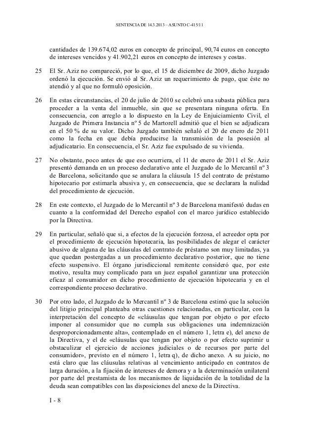 Sentencia c 415 11 mohamed aziz catalunyacaixa for Juzgados de martorell