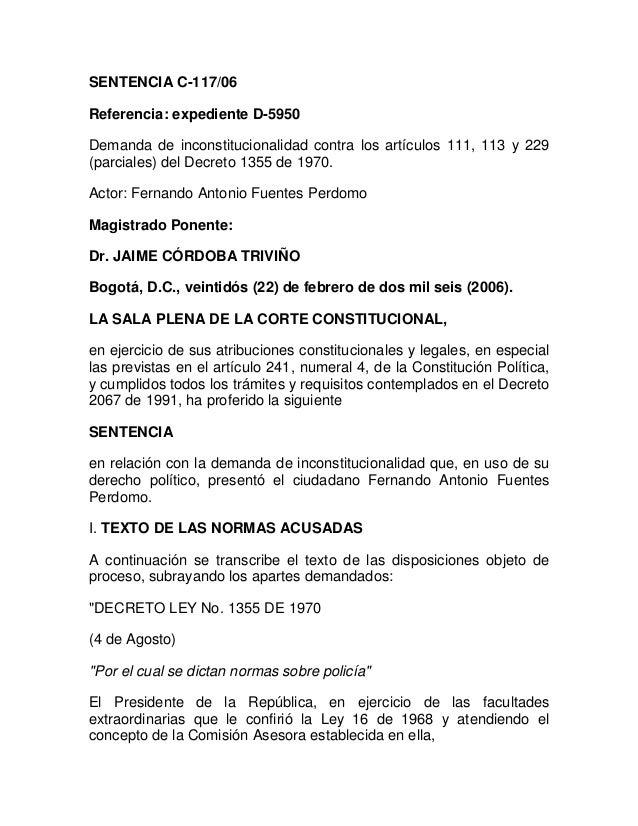 SENTENCIA C-117/06Referencia: expediente D-5950Demanda de inconstitucionalidad contra los artículos 111, 113 y 229(parcial...