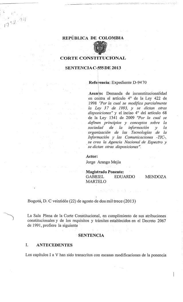 Sentencia C-555 de 2013, sobre reversión de telefonía celular en colombia