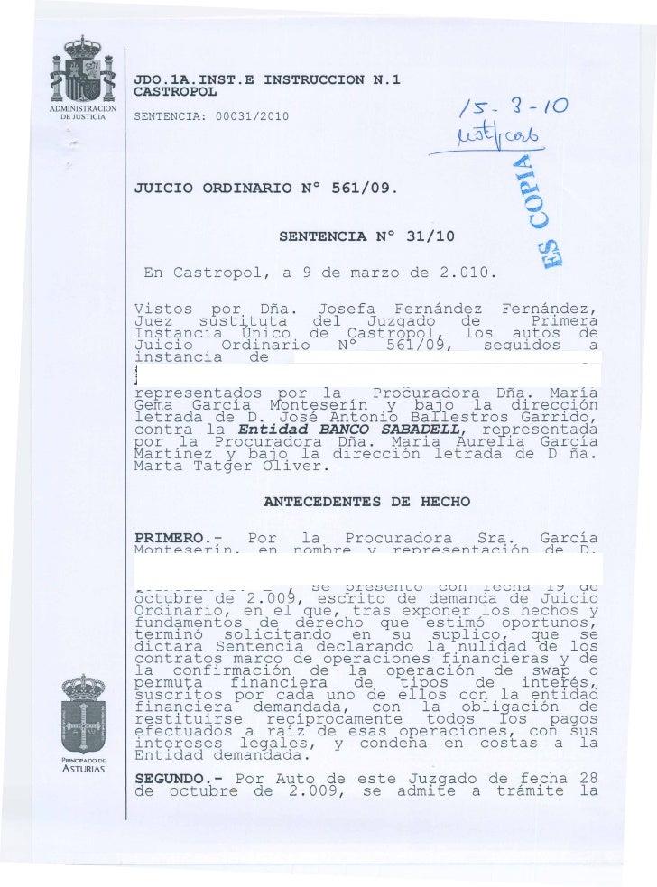 Sentencia Castropol Banco Sabadell