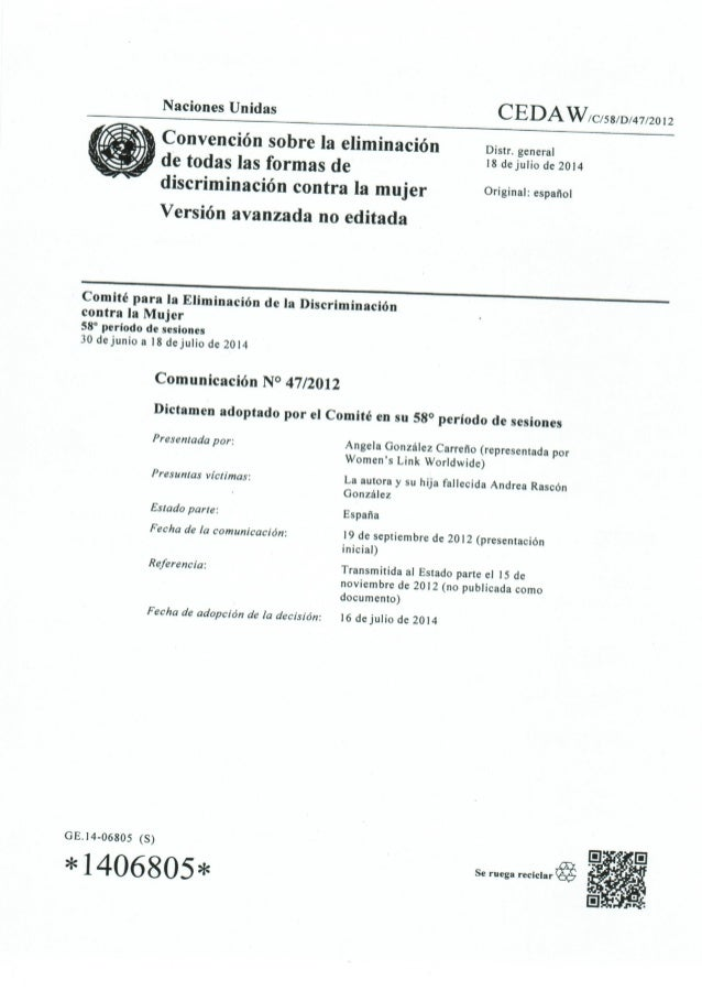 Naciones Unidas CEDAW/ C/58/D/47/20l2       v Convención sobre la eliminación Distr.  general de todas las formas de 's d°...
