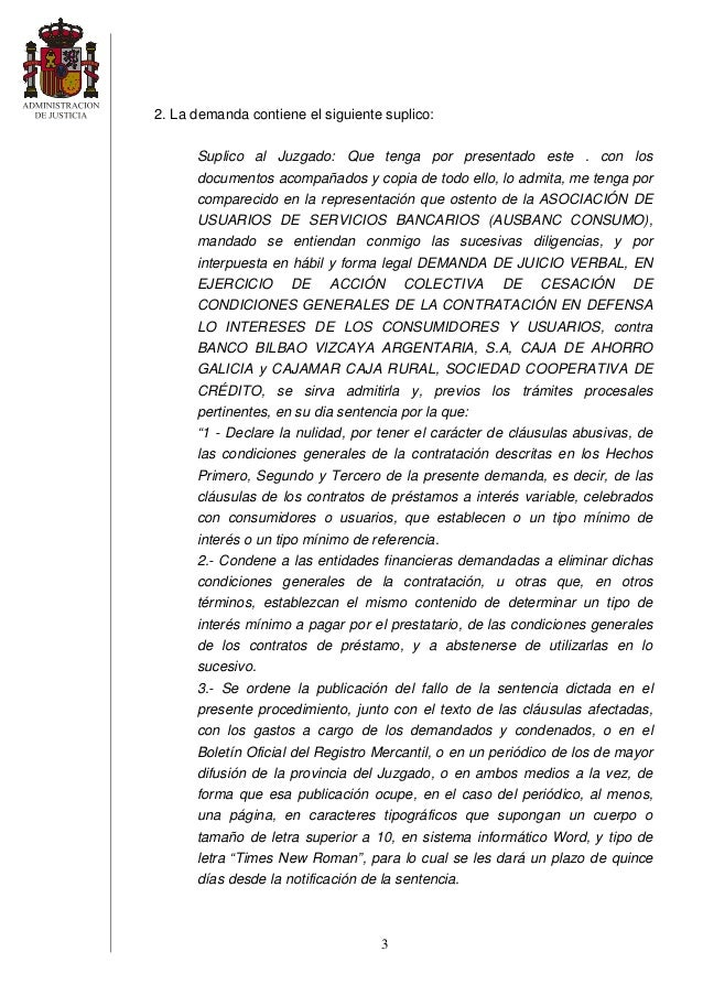 Sentencia clausula suelo for Clausula suelo y acuerdo con el banco