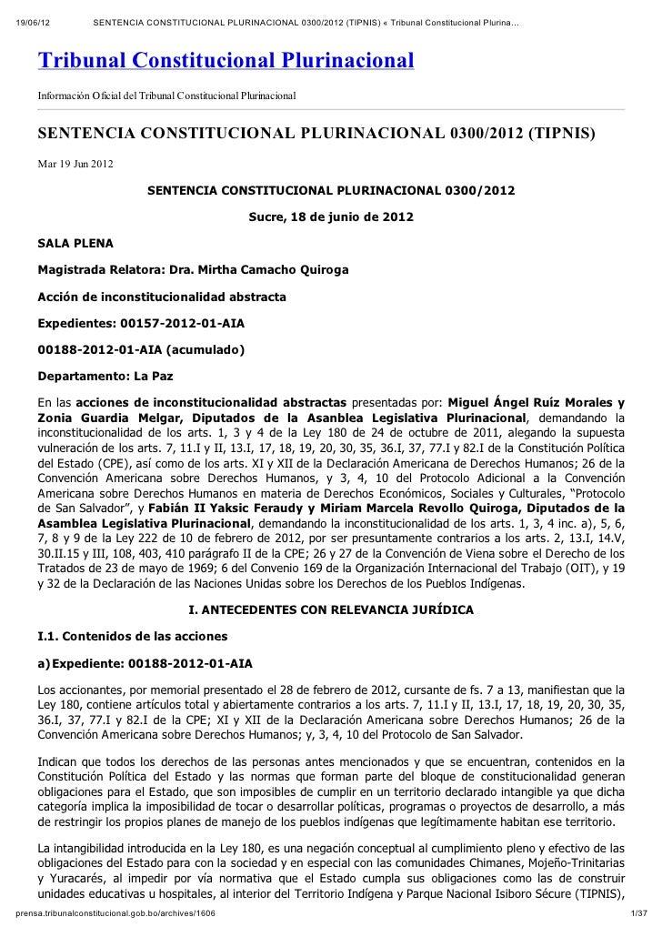 19/06/12           SENTENCIA CONSTITUCIONAL PLURINACIONAL 0300/2012 (TIPNIS) « Tribunal Constitucional Plurina…     Tribun...