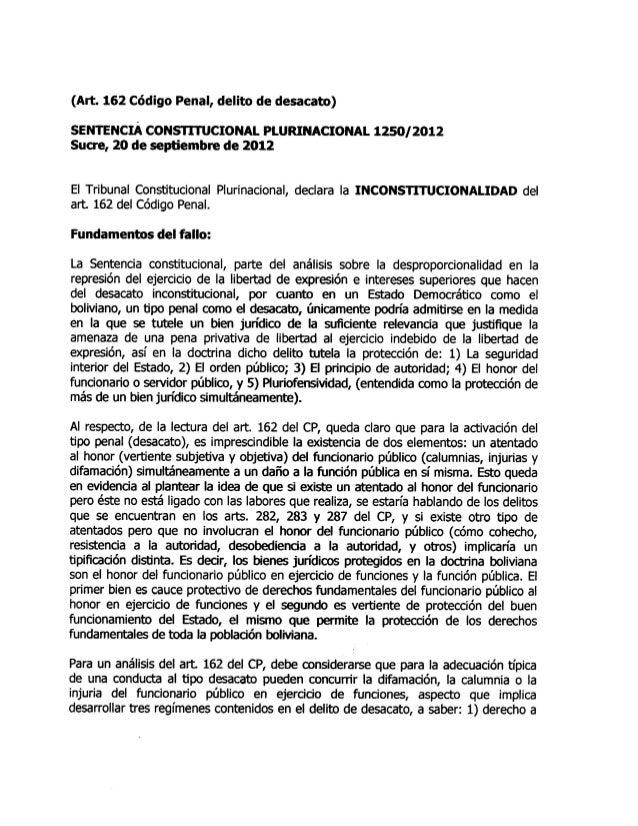 Sentencia constitucional plurinacional 1250  2012