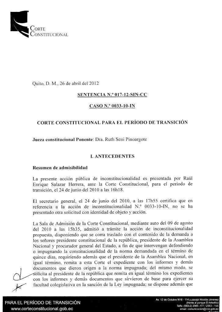 Corte           Constitucional            Quito, D. M, 26 de abril del 2012                                   SENTENCIA N....
