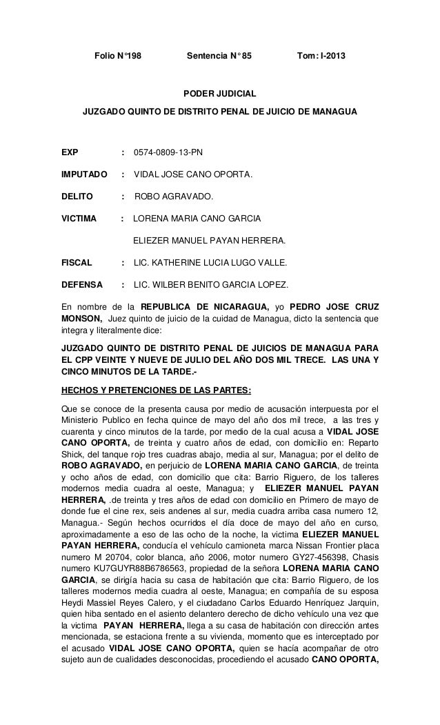 Folio N°198  Sentencia N° 85  Tom: I-2013  PODER JUDICIAL JUZGADO QUINTO DE DISTRITO PENAL DE JUICIO DE MANAGUA  EXP  :  0...