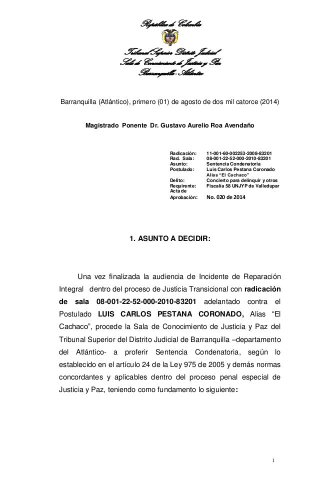 República de Colombia  Tribunal Superior Distrito Judicial  Sala de Conocimiento de Justicia y Paz  Barranquilla - Atlánti...