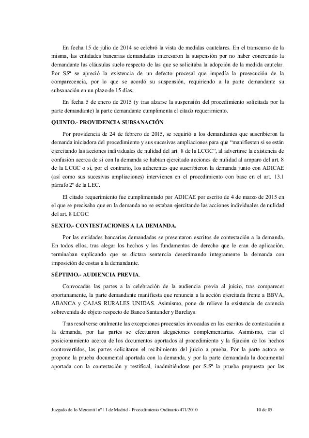 sentencia mercantil madrid clausulas suelo