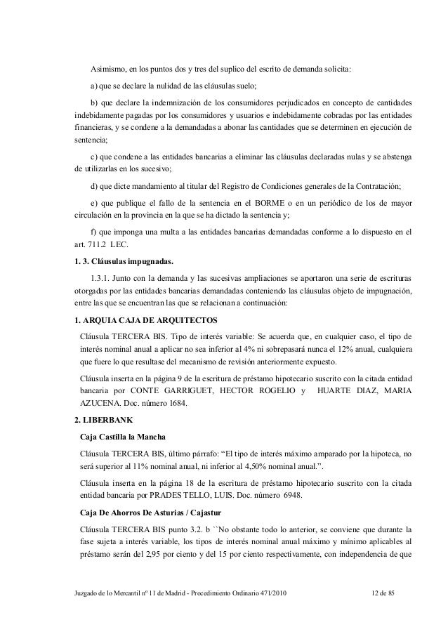 Sentencia mercantil madrid clausulas suelo for Escrito clausula suelo