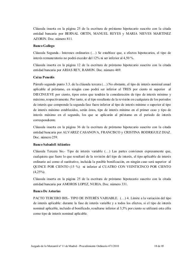 Sentencia mercantil madrid clausulas suelo for Clausula suelo y acuerdo con el banco