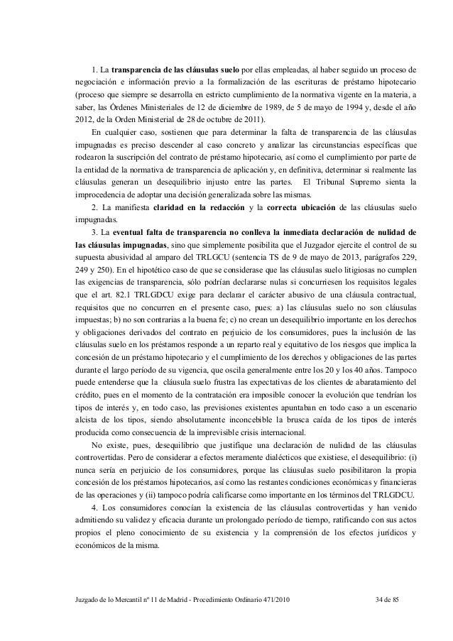 Sentencia mercantil madrid clausulas suelo for Clausula suelo bantierra