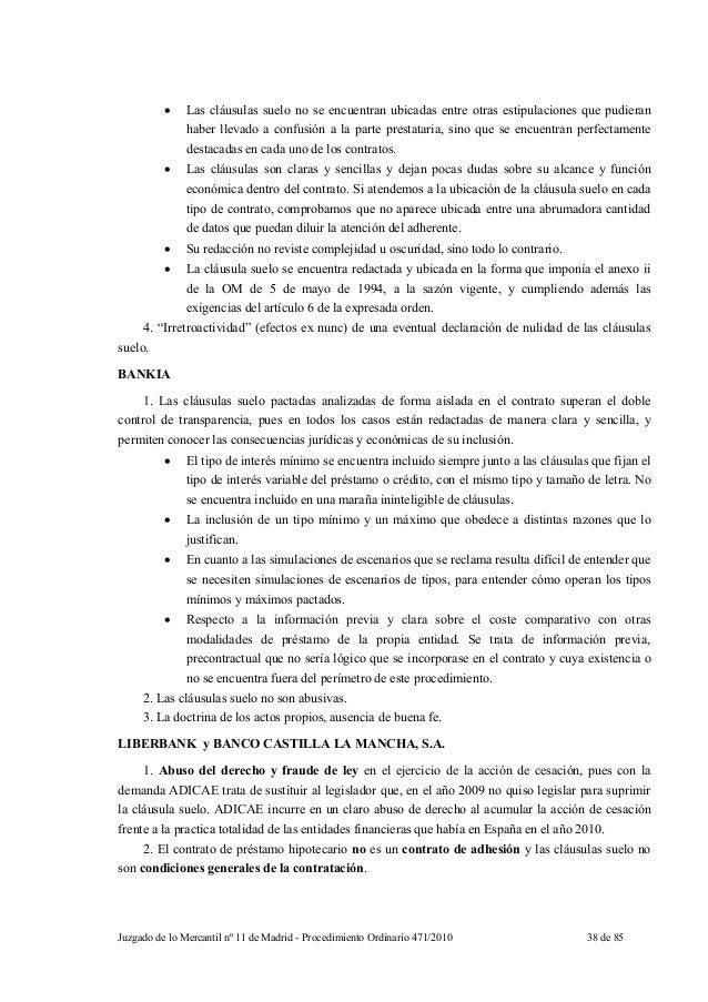 Sentencia mercantil madrid clausulas suelo for Que son las clausulas suelo