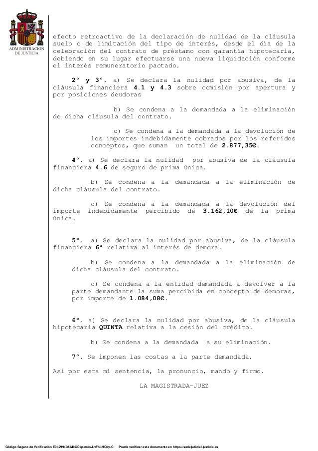Sentencia nulidad cl sula targobank for Nulidad acuerdo eliminacion clausula suelo