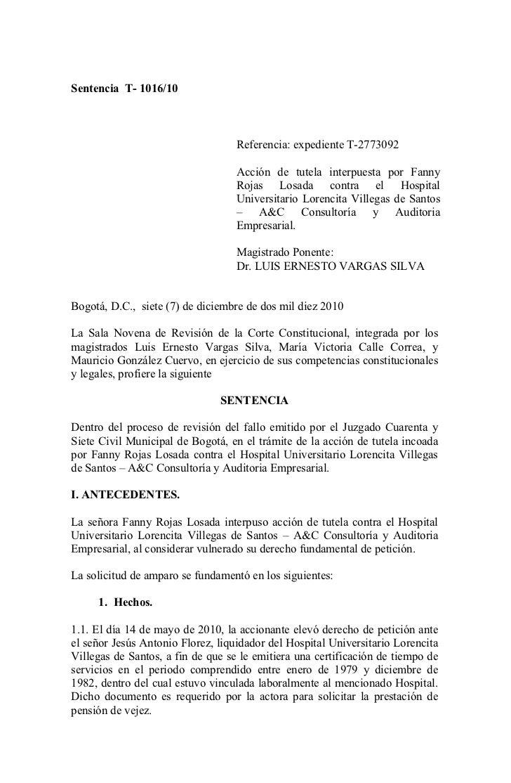 Sentencia T- 1016/10                                   Referencia: expediente T-2773092                                   ...