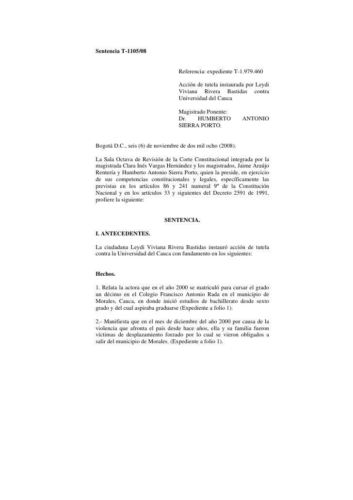 Sentencia T-1105/08                                  Referencia: expediente T-1.979.460                                  A...