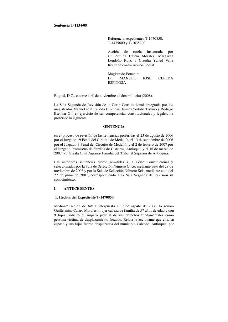 Sentencia T-1134/08                                   Referencia: expedientes T-1470850,                                  ...