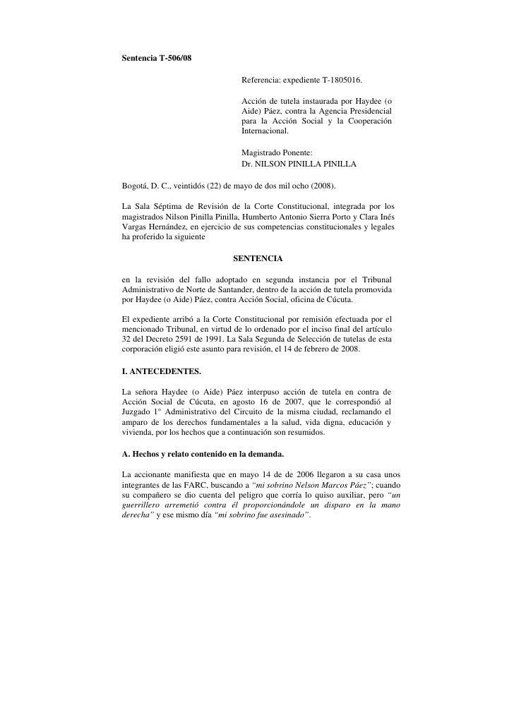 Sentencia T-506/08                                  Referencia: expediente T-1805016.                                  Acc...