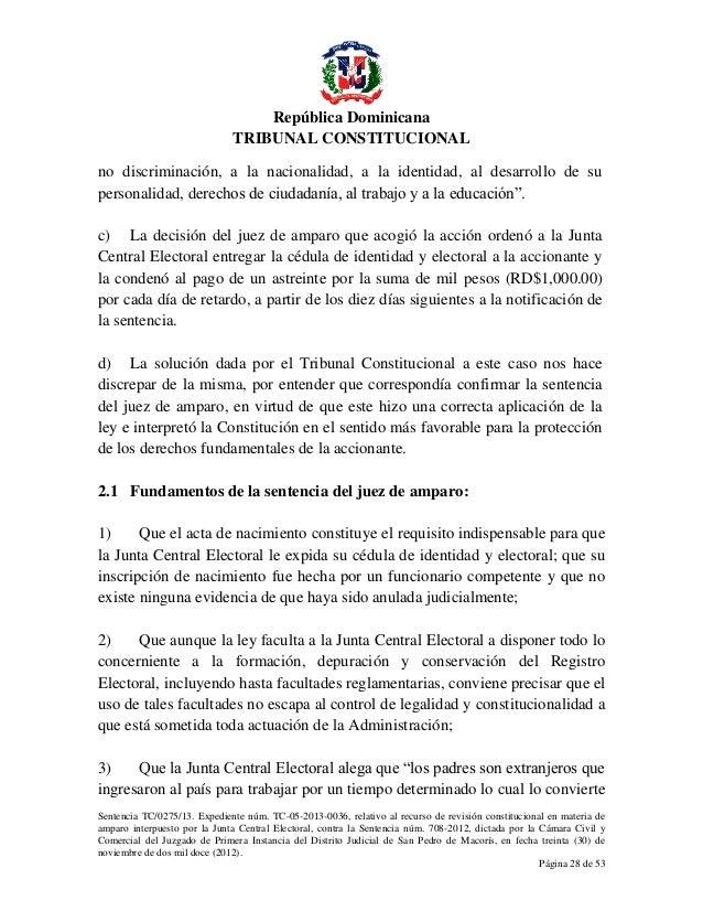 Haiti - Republique Dominicaine: Sentencia TC 0275 13 C