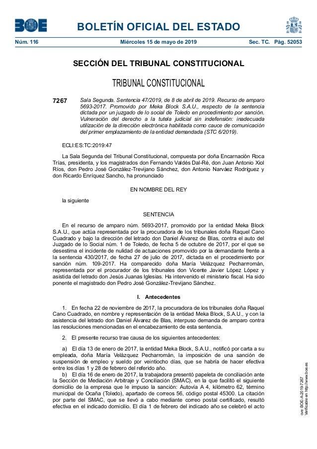 SECCIÓN DEL TRIBUNAL CONSTITUCIONAL TRIBUNAL CONSTITUCIONAL 7267 Sala Segunda. Sentencia 47/2019, de 8 de abril de 2019. R...