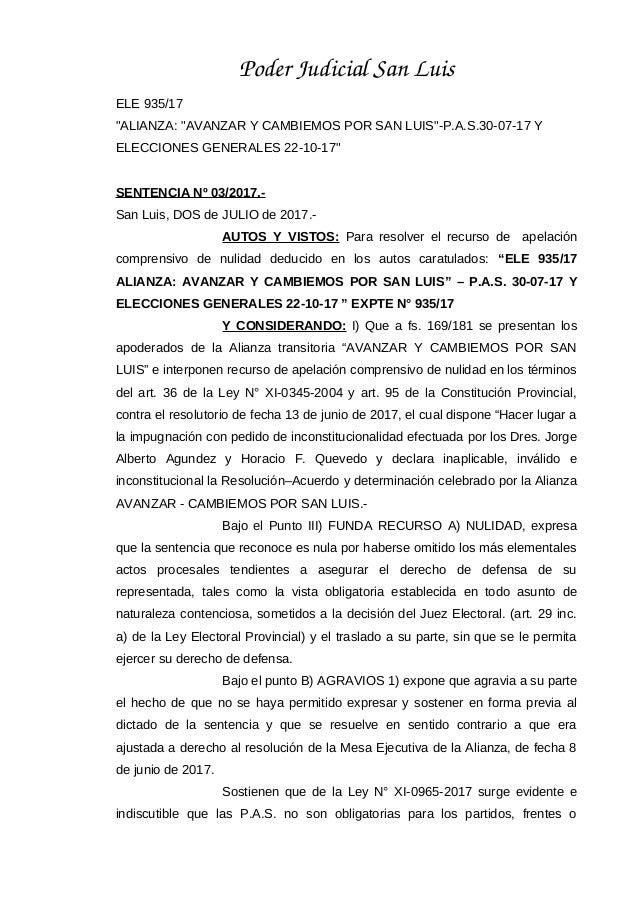 """PoderJudicialSanLuis ELE 935/17 """"ALIANZA: """"AVANZAR Y CAMBIEMOS POR SAN LUIS""""-P.A.S.30-07-17 Y ELECCIONES GENERALES 22-1..."""