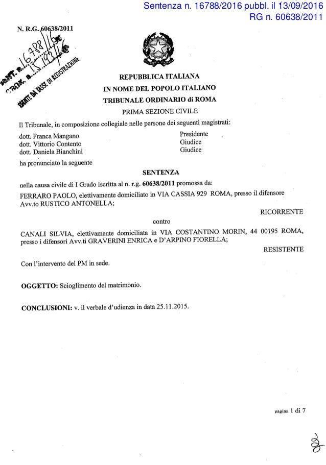 Sentenza n. 16788/2016 pubbl. il 13/09/2016 RG n. 60638/2011