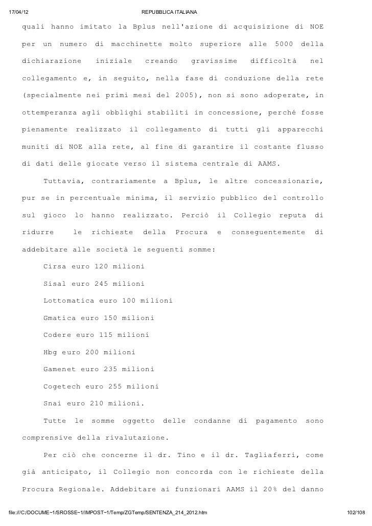 Sentenza 214 2012