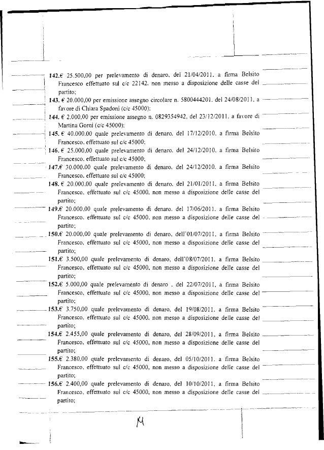 i -._- _--L--- -._---'- ----...- '.n.E' 25.500.00 per prelevamento di denaro. del 21/04/2011. a firma Belsito Francesco ef...