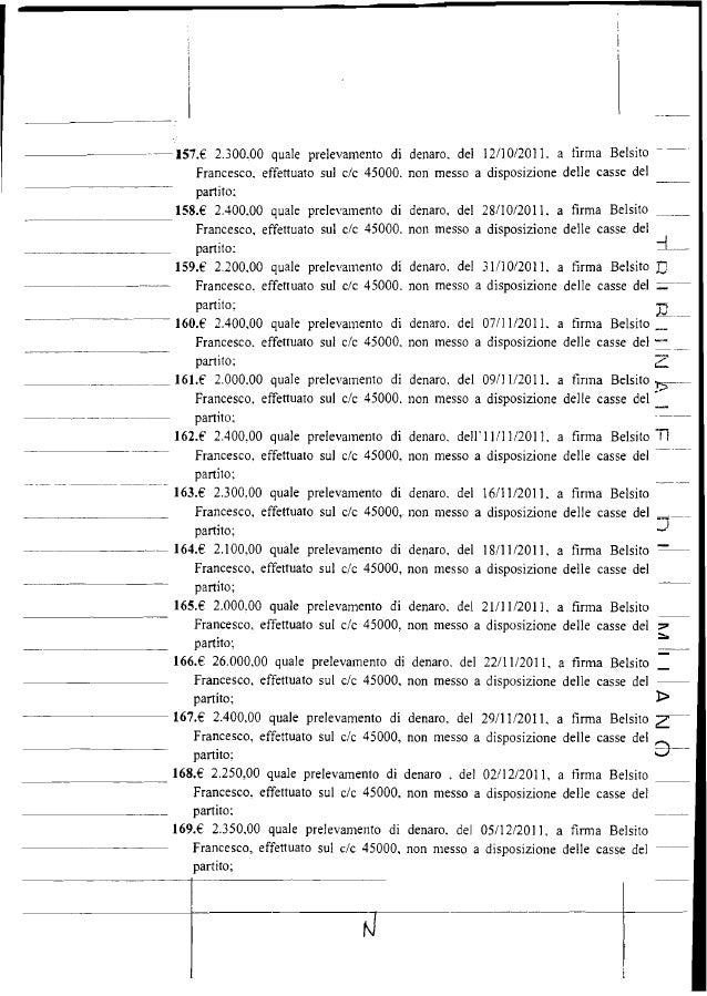 .------ 157.€ 2.300,00 quale prelevamento di denaro. del 12/10/2011. a tirma Belsito Francesco, effettuato sul c/c 45000. ...