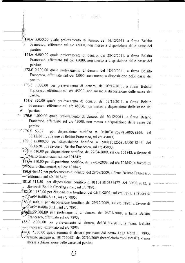 . .. __'170.E 5.050.00 quale prelevamento di denaro. del 16/12/2011. a firma Belsito Francesco. effettuato sul c/c 45000, ...