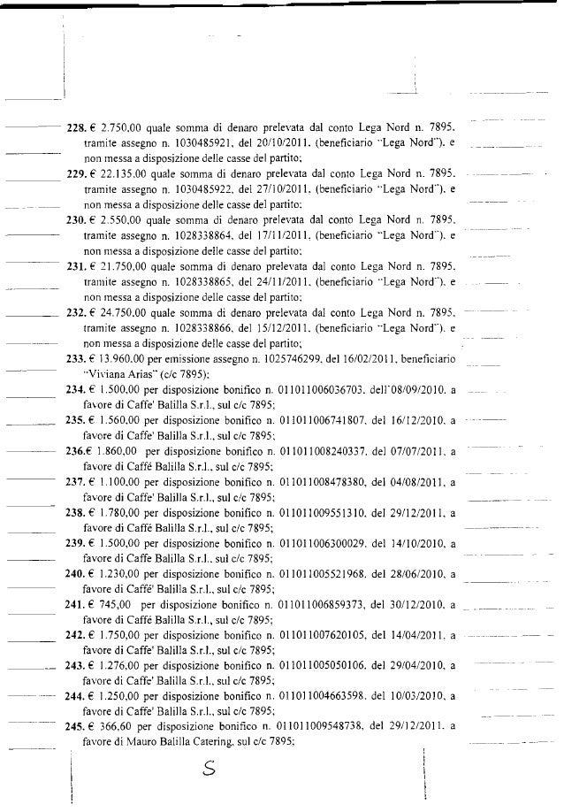 ---- 228. € 2.750.00 quale somma di denaro prelevata dal conto Lega Nord n. 7895. tramite assegno n. 1030485921. del 20/10...