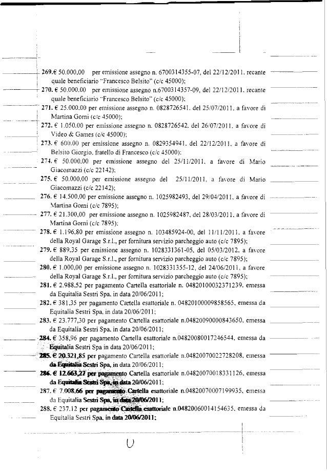269.€ 50.000,00 per emissione assegno n. 6700314355-07, del 22112/2011. recante quale beneficiario Francesco Belsito (c/c ...